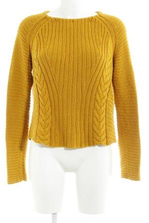 Zara Knit Strickpullover dunkelgelb Casual-Look
