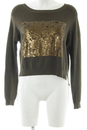 Zara Knit Strickpullover grüngrau-bronzefarben Casual-Look