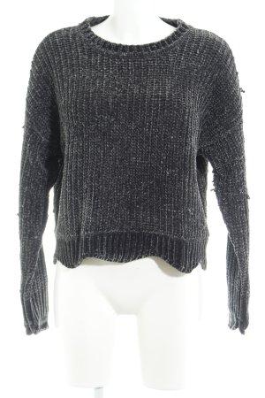 Zara Knit Strickpullover grüngrau Samt-Optik