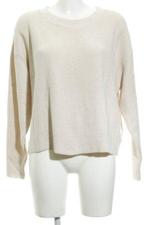 Zara Knit Strickpullover hellbeige Casual-Look