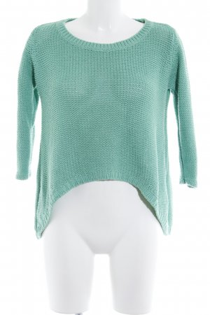 Zara Knit Strickpullover hellgrün Casual-Look
