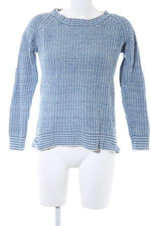 Zara Knit Strickpullover kornblumenblau-wollweiß Zackenmuster Casual-Look