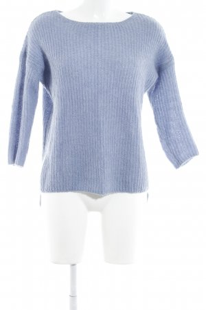 Zara Knit Strickpullover kornblumenblau Zopfmuster Casual-Look