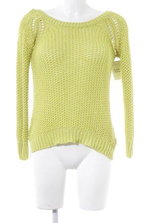 Zara Knit Strickpullover limettengelb Lochstrickmuster Street-Fashion-Look
