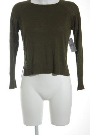 Zara Knit Strickpullover olivgrün Casual-Look