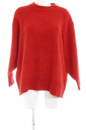 Zara Knit Strickpullover rot Casual-Look