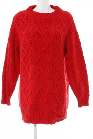 Zara Knit Strickpullover rot Zopfmuster Casual-Look