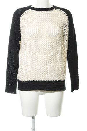 Zara Knit Strickpullover schwarz-creme Lochstrickmuster Casual-Look