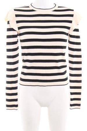 Zara Knit Strickpullover schwarz-creme Streifenmuster Casual-Look