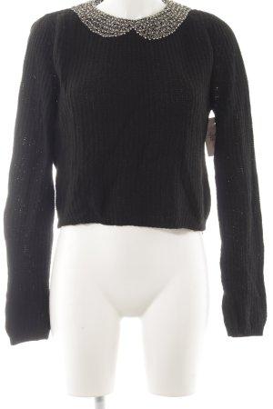 Zara Knit Strickpullover schwarz Elegant