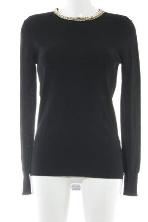 Zara Knit Strickpullover schwarz-goldfarben Elegant