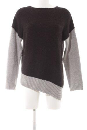 Zara Knit Strickpullover schwarz-hellgrau Streifenmuster Casual-Look