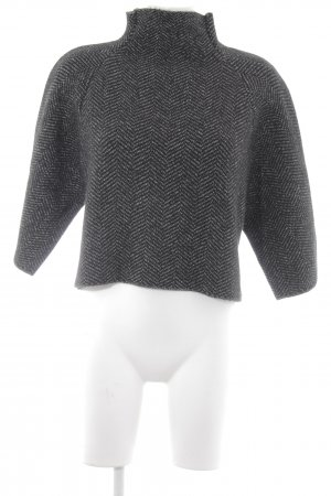Zara Knit Strickpullover schwarz-weiß Fischgrätmuster Casual-Look