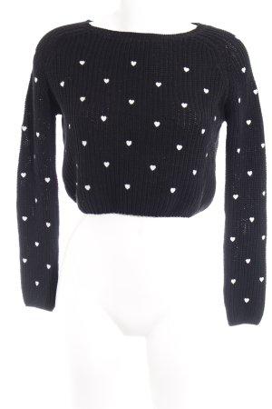 Zara Knit Strickpullover schwarz-weiß Herzmuster Casual-Look