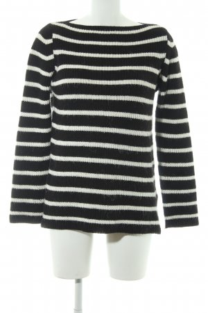 Zara Knit Knitted Sweater black-white striped pattern casual look