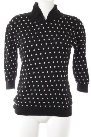 Zara Knit Strickpullover schwarz-wollweiß Punktemuster Street-Fashion-Look