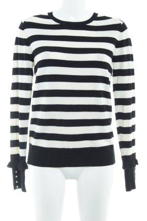 Zara Knit Strickpullover schwarz-wollweiß Streifenmuster Casual-Look