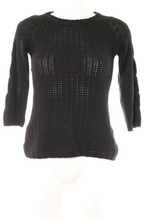 Zara Knit Strickpullover schwarz Zopfmuster Street-Fashion-Look