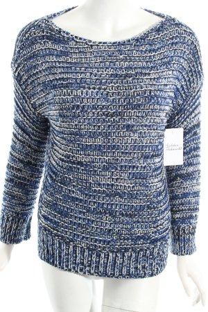 Zara Knit Strickpullover weiß-blau Casual-Look