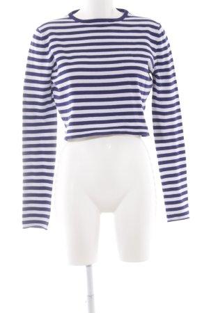 Zara Knit Strickpullover weiß-blau Streifenmuster Casual-Look