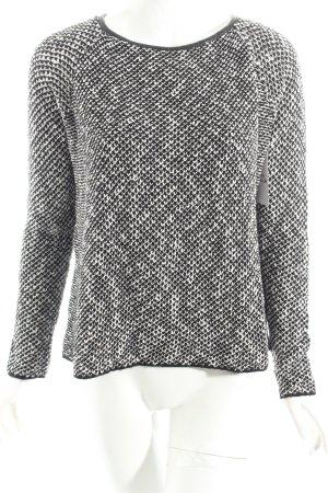 Zara Knit Strickpullover weiß-schwarz Casual-Look