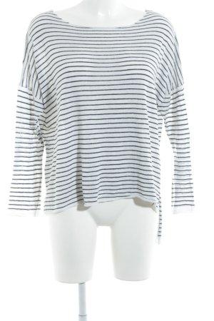Zara Knit Strickpullover weiß-schwarz Ringelmuster Casual-Look