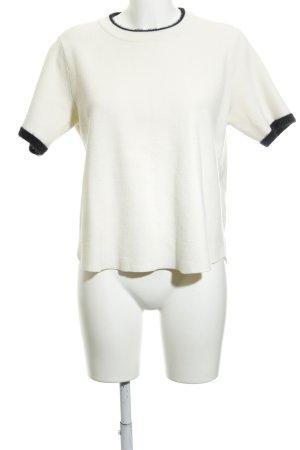 Zara Knit Strickshirt creme-schwarz Casual-Look