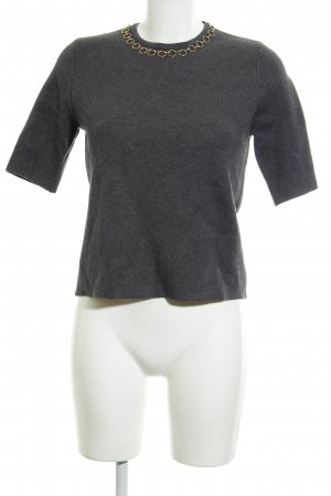 Zara Knit Strickshirt grau-goldfarben Casual-Look