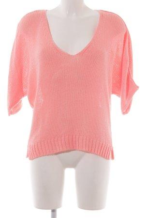 Zara Knit Camisa tejida rosa-rosa neón estilo extravagante