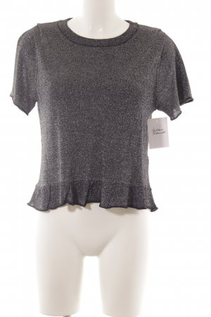 Zara Knit Strickshirt schwarz-silberfarben Glanz-Optik