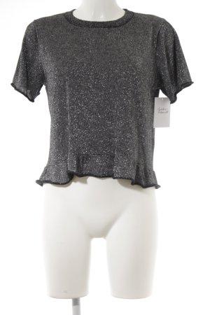 Zara Knit Strickshirt schwarz-silberfarben Metallic-Optik