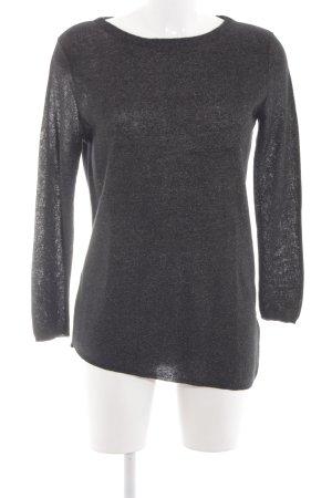 Zara Knit Strickshirt schwarz-silberfarben Schimmer-Optik