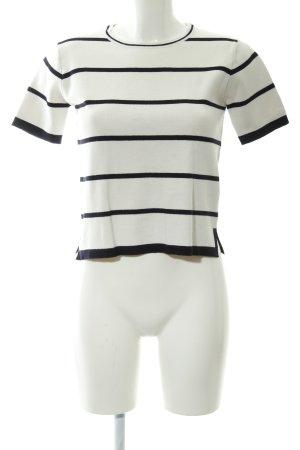 Zara Knit Camicia maglia bianco sporco-nero motivo a righe stile casual