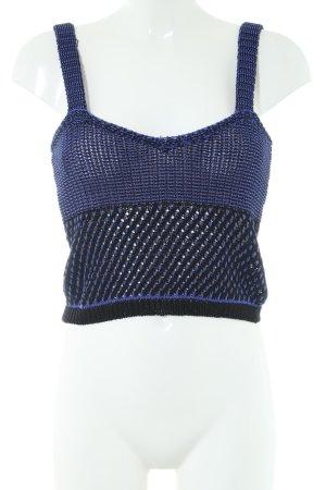 Zara Knit Stricktop blau-schwarz Zopfmuster Casual-Look