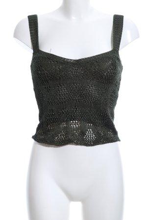 Zara Knit Knitted Top dark green casual look