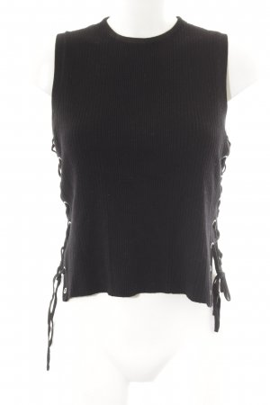 Zara Knit Stricktop schwarz Casual-Look