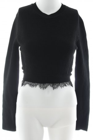 Zara Knit Knitted Top black weave pattern casual look