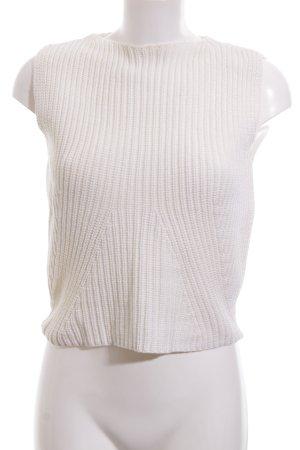 Zara Knit Top lavorato a maglia bianco sporco stile casual