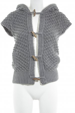 Zara Knit Strickweste dunkelgrau-weiß Kuschel-Optik