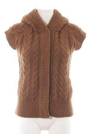 Zara Knit Gebreid vest lichtbruin kabel steek casual uitstraling