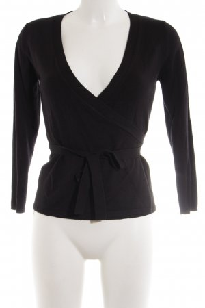 Zara Knit Knitted Wrap Cardigan black casual look