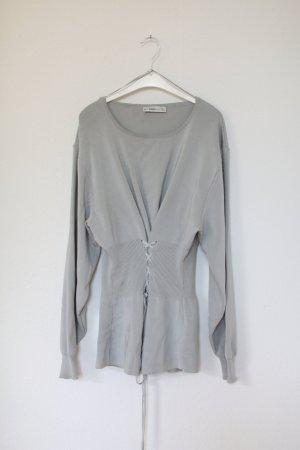 Zara Knit Sweater Pullover Strickpullover Grau Gr. S zum schnüren Vintage Look