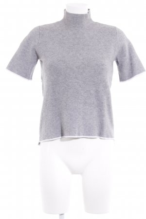 Zara Knit T-Shirt hellgrau-weiß Casual-Look