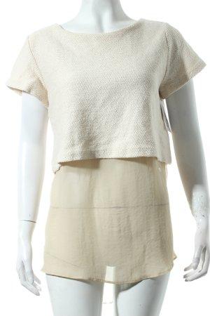 Zara Knit Top blanco puro-beige estilo clásico