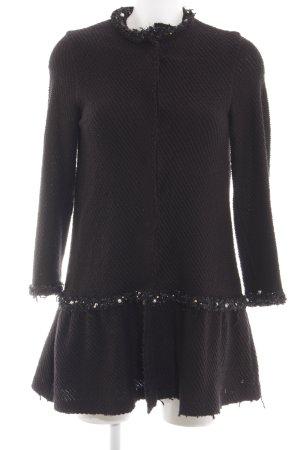 Zara Knit Overgangsjas zwart casual uitstraling