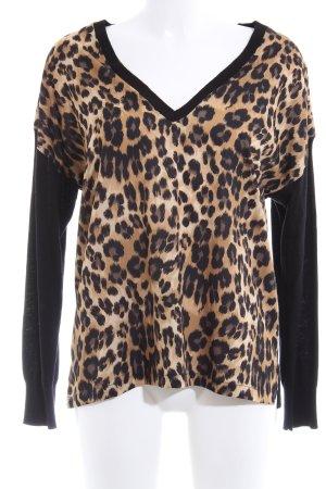 Zara Knit V-Neck Sweater animal pattern extravagant style