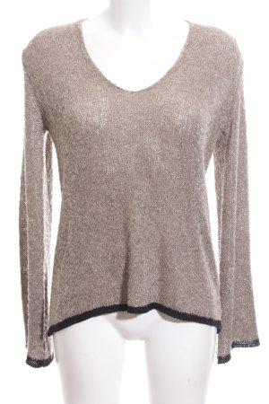 Zara Knit V-Ausschnitt-Pullover creme Zopfmuster Casual-Look