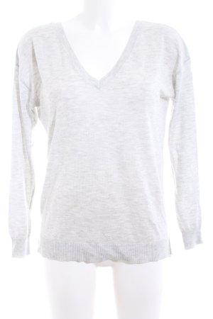Zara Knit V-Ausschnitt-Pullover hellgrau meliert Business-Look