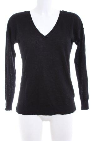 Zara Knit Jersey con cuello de pico negro look casual