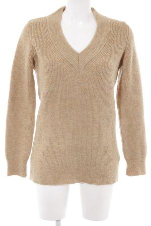 Zara Knit V-Ausschnitt-Pullover beige Kuschel-Optik